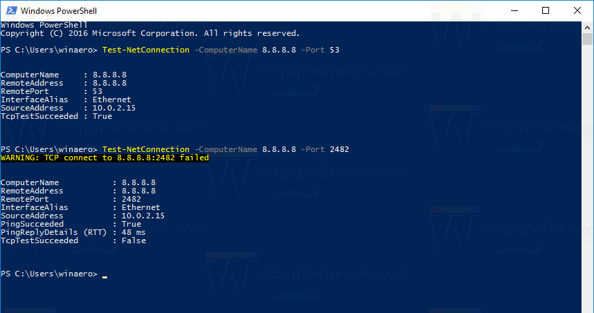 Test remote network port connection in Windows 10