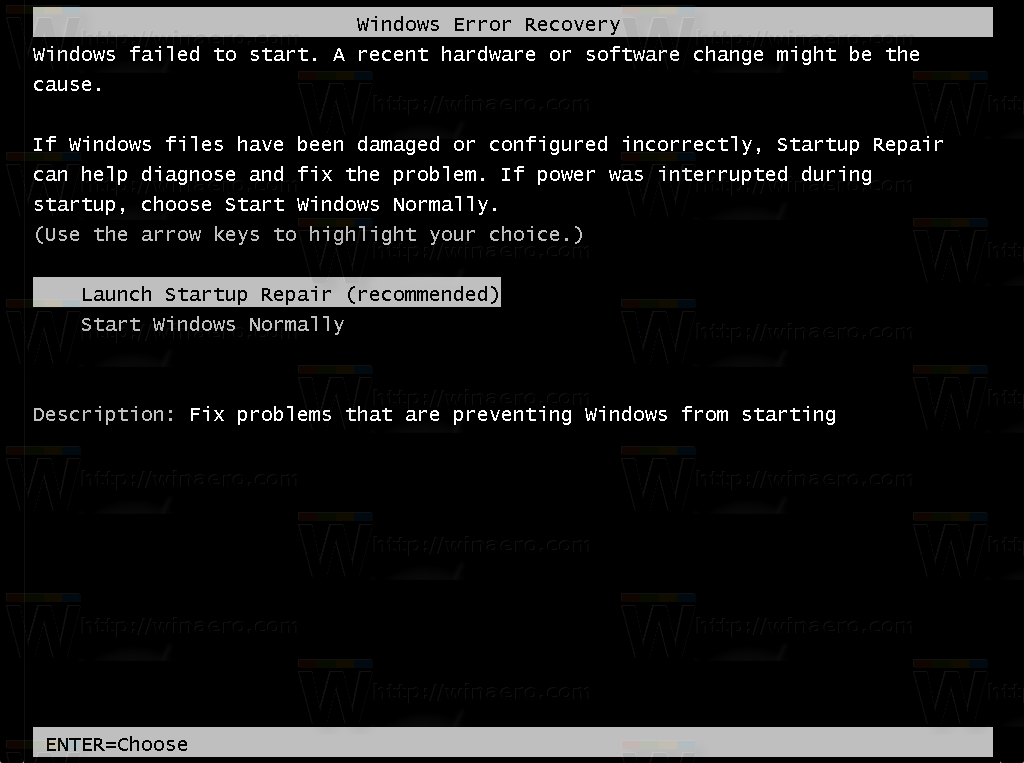 Disable Launch Startup Repair recommendation in Windows 7