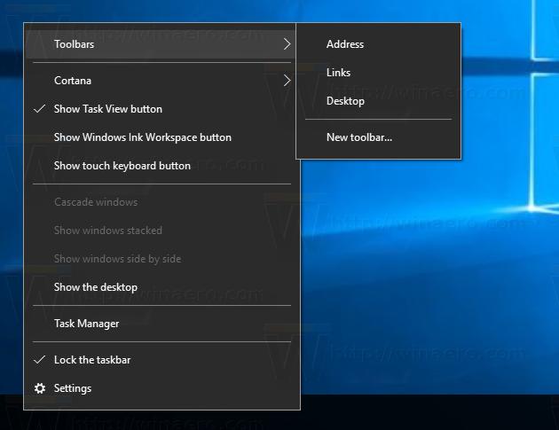 How to backup taskbar toolbars in Windows 10