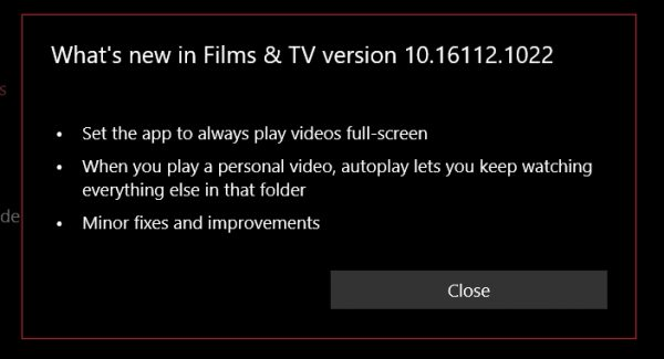Microsoft Movies & TV app updated in the Fast ring with