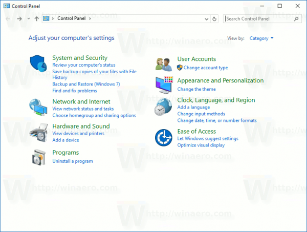 control-panel-opened-in-windows-10