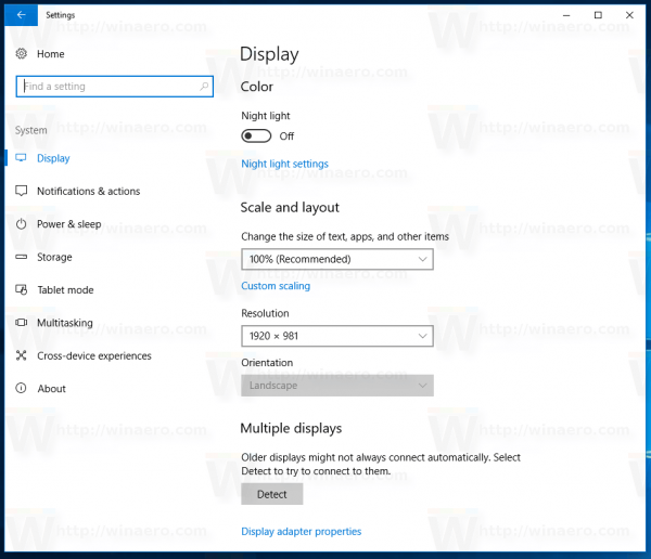 Enable Night Light Windows 10 Using Settings