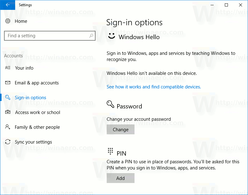 remove sign in options windows 10