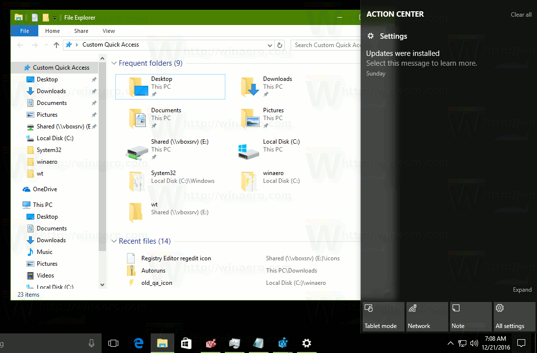 How to disable open action center windows 10