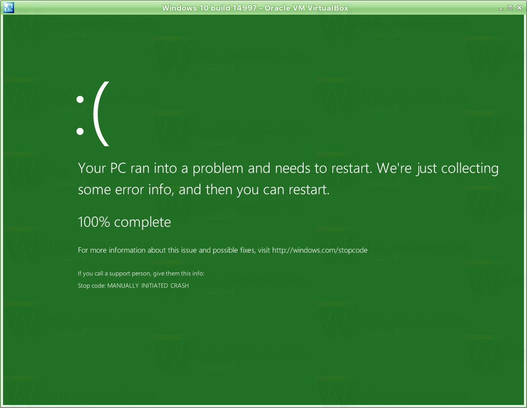 There is Green Screen of Death in Windows 10 build 14997