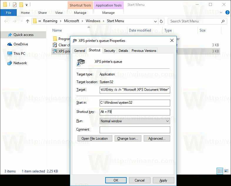 Open printer queue with a shortcut in windows 10 for Window location assign