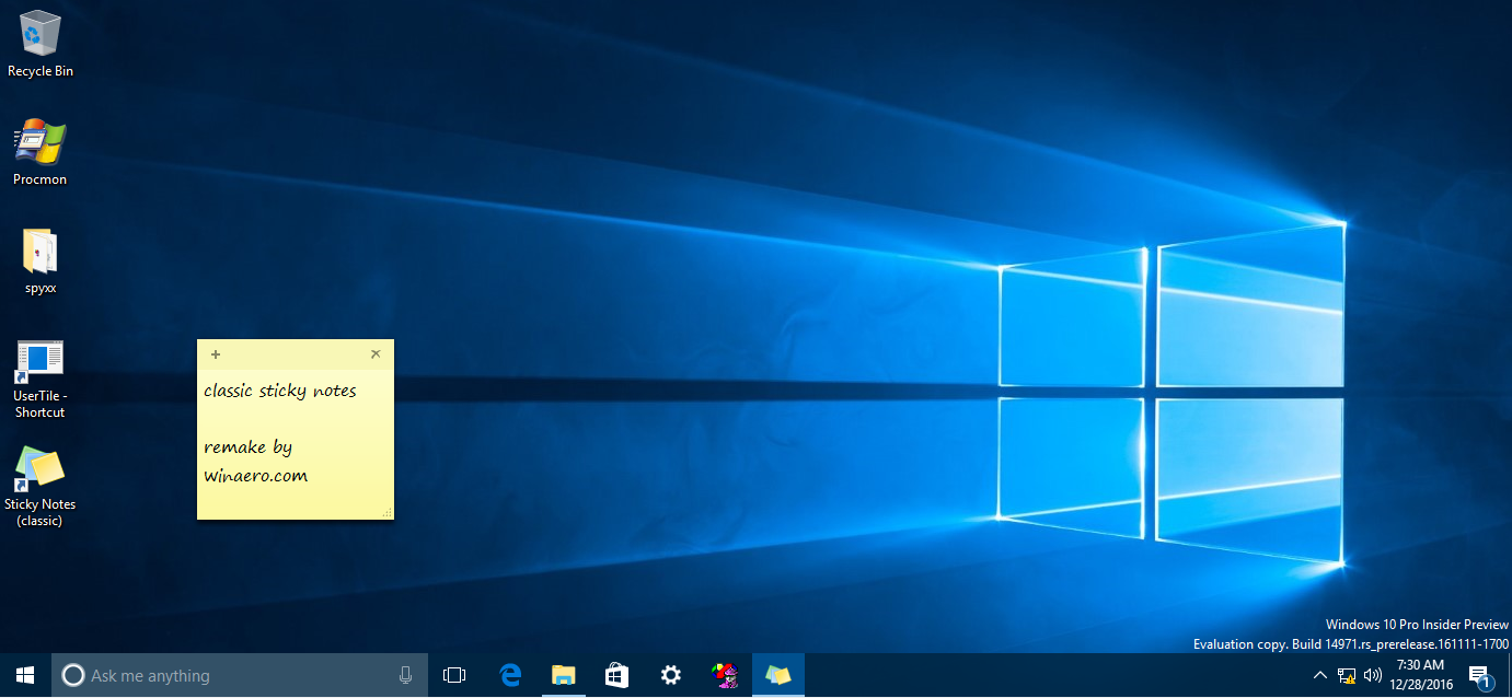 Sticky notes location in Windows 10