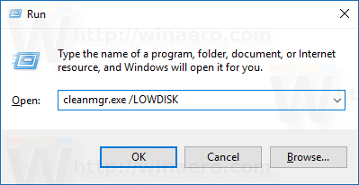 cleanmgr-lowdisk-run-from-run-dialog