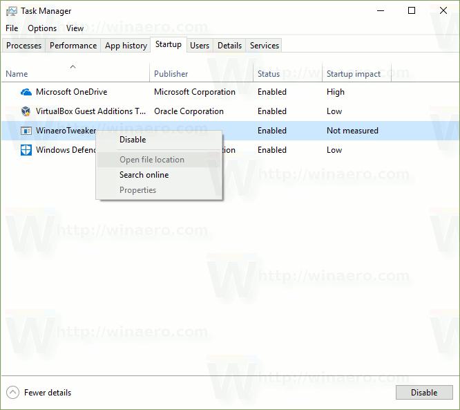 task manager startup tab windows 7