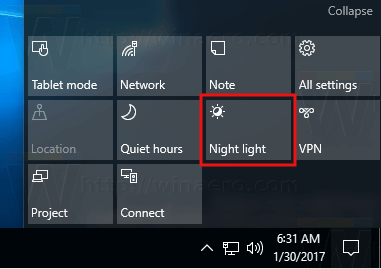 Enable Night Light Windows 10