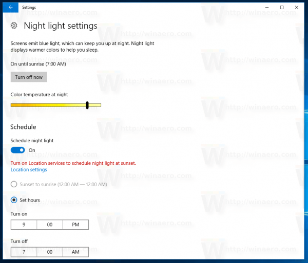 Night Light Settings Page In Windows 10