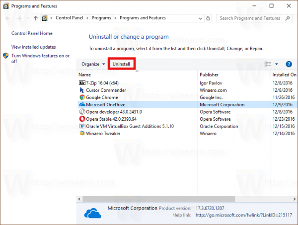 An Official Way to Uninstall OneDrive in Windows 10 - Winaero
