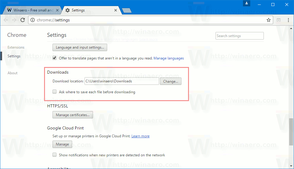 Change Download Folder In Google Chrome