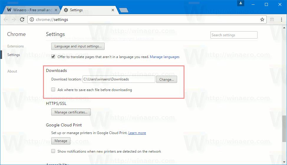 Change Download Folder In Google Chrome