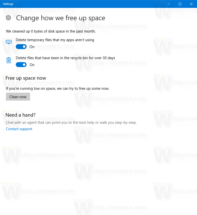 Change How We Free Up Space Page