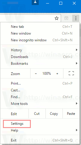 Chrome Settings Menu Item