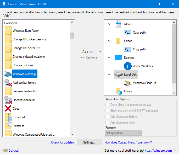 Context menu tuner для windows 8.1