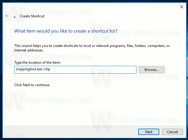 Create Shortcut To Capture Screen Region In Windows 10