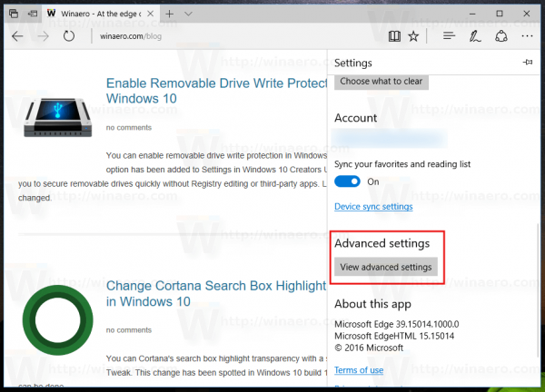 Edge Advacned Settings Button