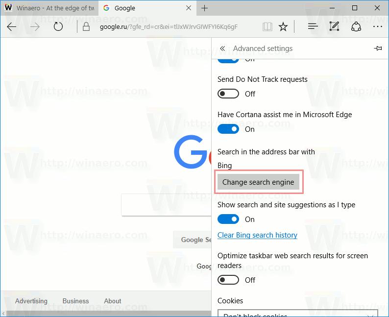 Edge Change Search Engine Button