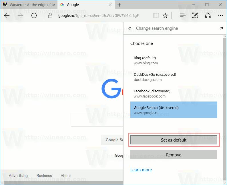 Edge Set Google As Default Search Engine