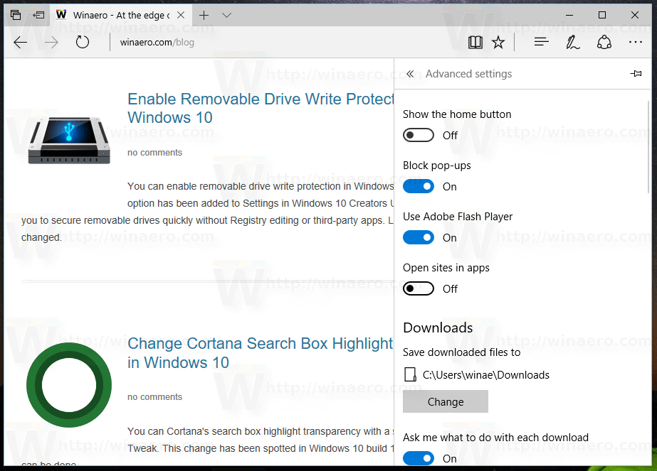 Disable Open Sites in Apps in Edge in Windows 10