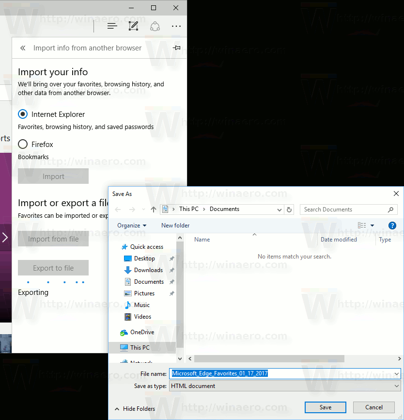 Edge Favorites Export To A File