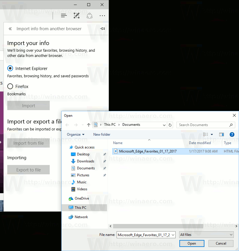 Edge Favorites Import From To A File