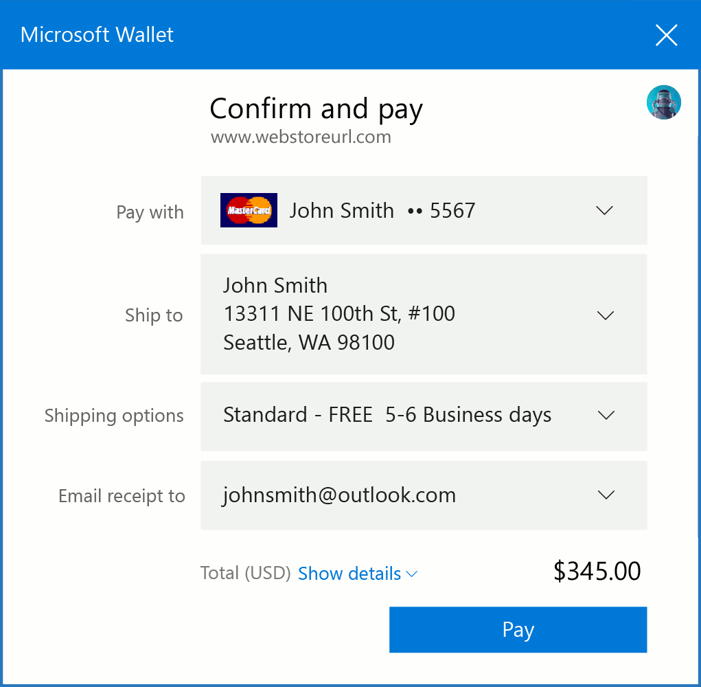 Edge Web Payments Wallet UI