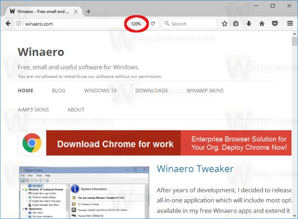 Firefox 51 Zoom Level Indicator