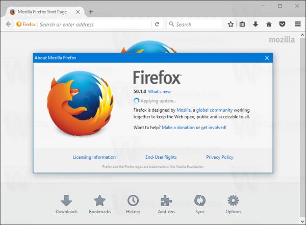 Firefox Applying Update