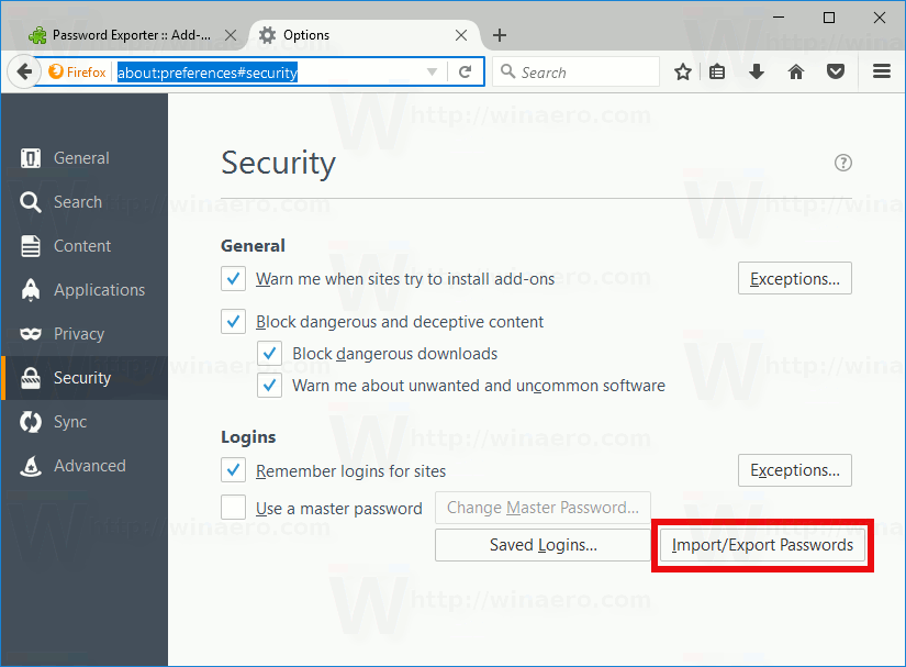 Firefox Import Export Passwords Button