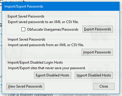 Firefox Import Export Passwords