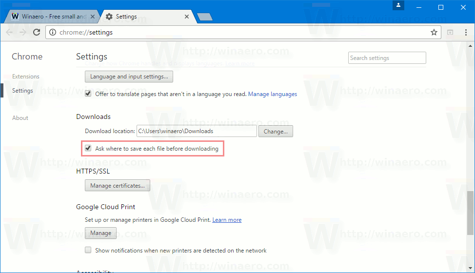 Google Chrome Ask Where To Save Downloads Option