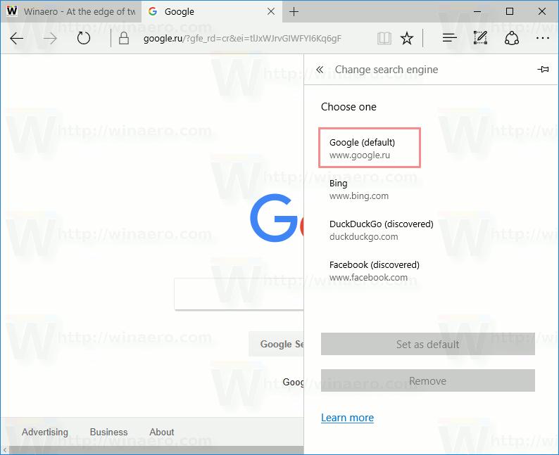 Google Set Default In Edge