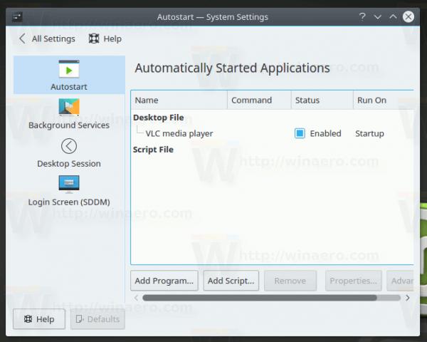 KDE App To Startup