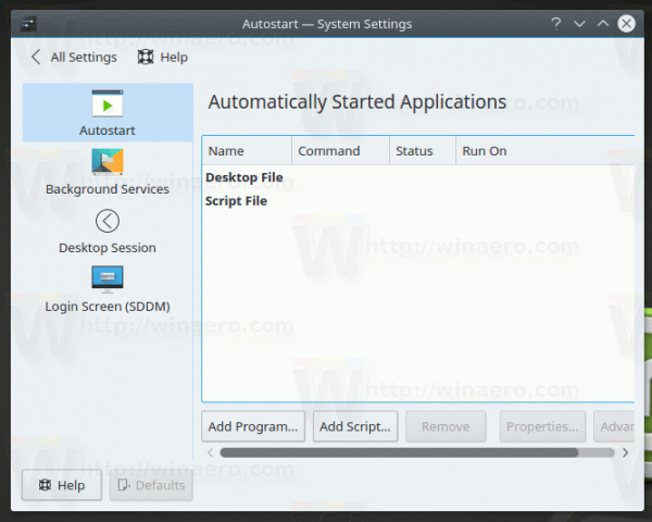 KDE Startup And Shutdown Category