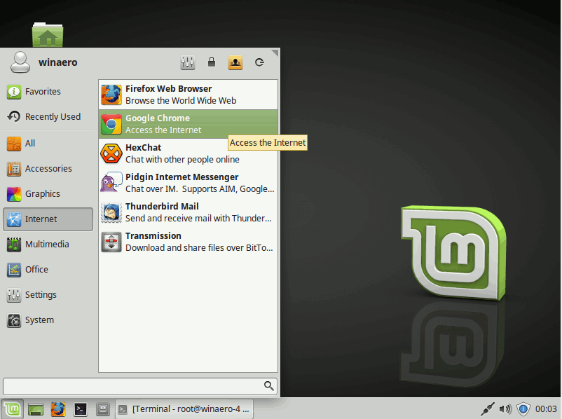 Linux Mint 18 Google Chrome In The Apps Menu
