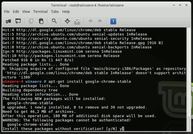 Linux Mint 18 Install Google Chrome