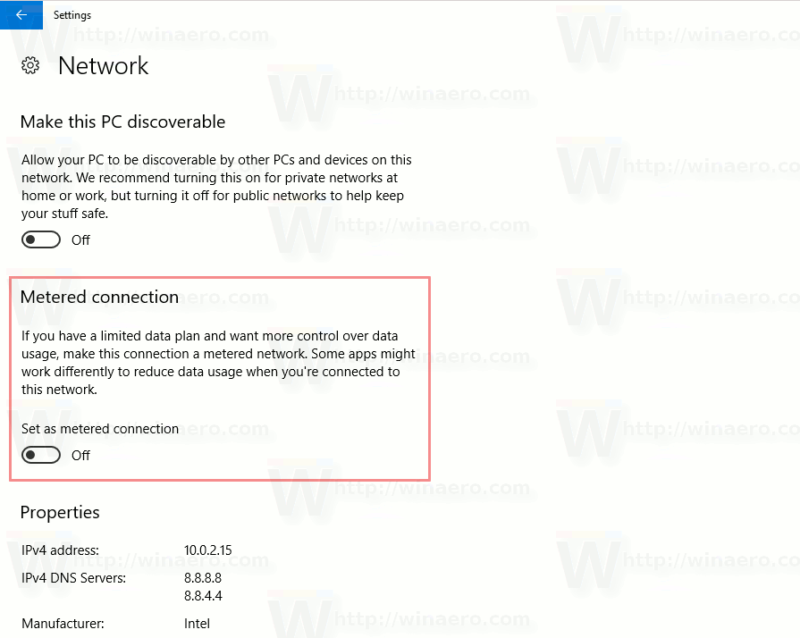 Metered Connection Option In Windows 10 Creators Update