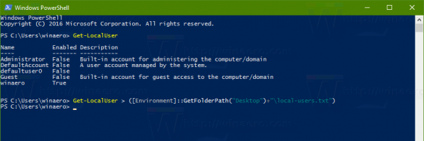 PowerShell Local User Accounts List To File
