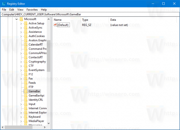 Registry GameBar Key