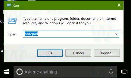Run Dialog Notepad