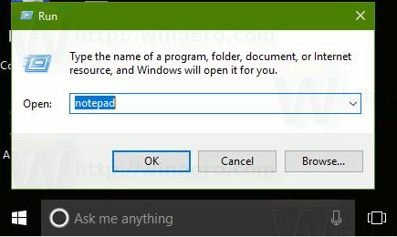Run Dialog Notepad