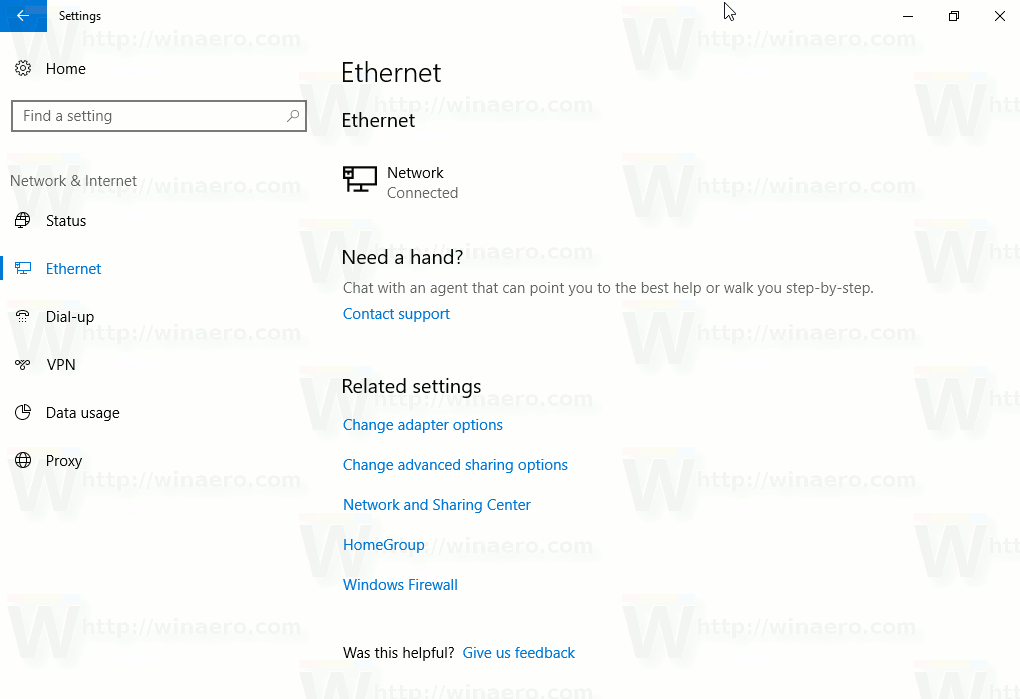 Settings Network And Internet Ethernet Page