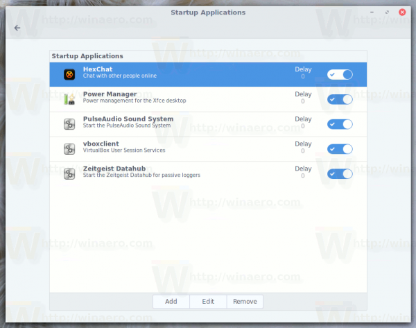 Startup Applications Interface In Cinnamon