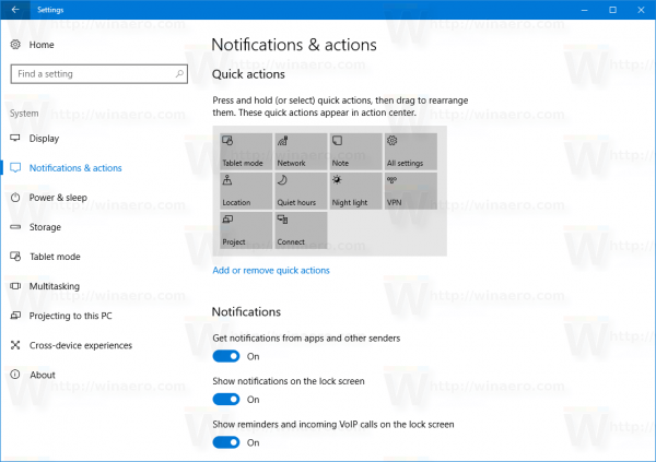 System Notifications And Actions 15019