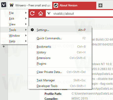 Vivaldi Tools Settings Menu