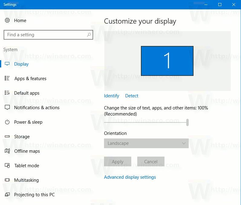 Windows 10 AU Display Settings
