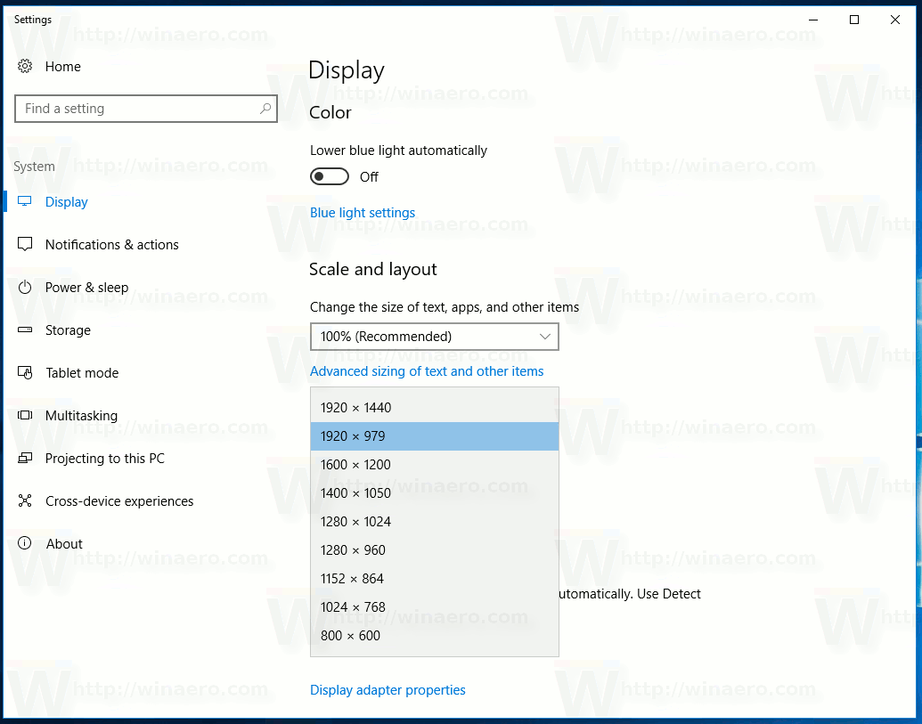 Windows 10 Creators Update Display Resolution